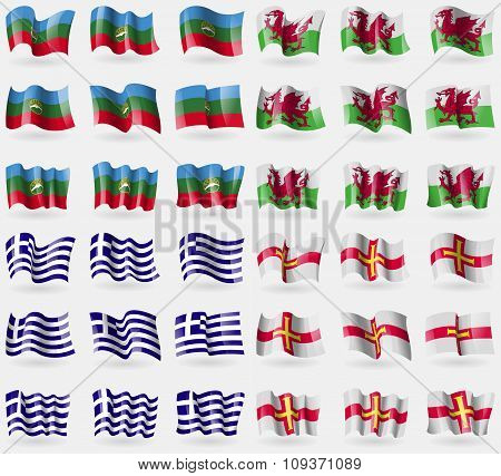 Karachaycherkessia, Wales, Greece, Guernsey. Set Of 36 Flags Of The Countries Of The World. Vector