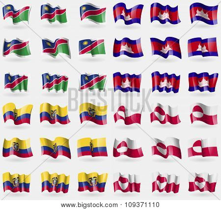 Namibia, Cambodia, Ecuador, Greenland. Set Of 36 Flags Of The Countries Of The World. Vector