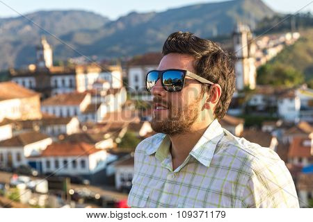 Tourist at Ouro Preto in Minas Gerais, Brazil
