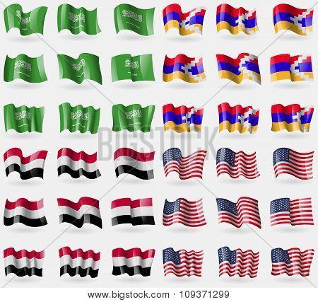 Saudi Arabia, Karabakh Republic, Yemen, Usa. Set Of 36 Flags Of The Countries Of The World. Vector