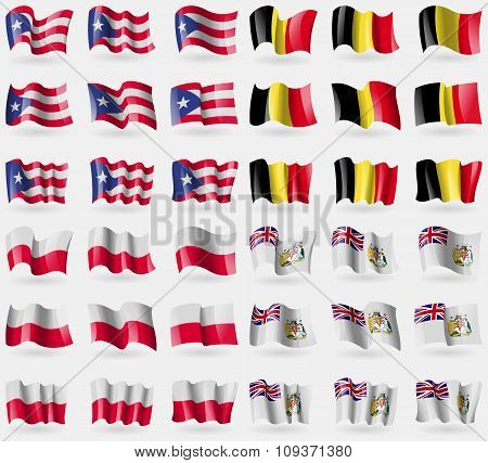 Puerto Rico, Belgium, Poland, British Antarctic Territory. Set Of 36 Flags Of The Countries Of The W