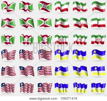 Burundi, Iran, Liberia, Buryatia. Set Of 36 Flags Of The Countries Of The World. Vector