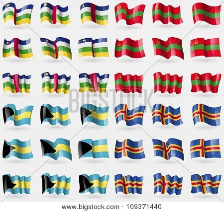 Central African Republic, Transnistria, Bahamas, Aland. Set Of 36 Flags Of The Countries Of The Worl
