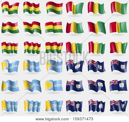 Bolivia, Guinea, Tuva, Anguilla. Set Of 36 Flags Of The Countries Of The World. Vector
