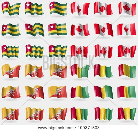 Togo, Canada, Bhutan, Guinea. Set Of 36 Flags Of The Countries Of The World. Vector
