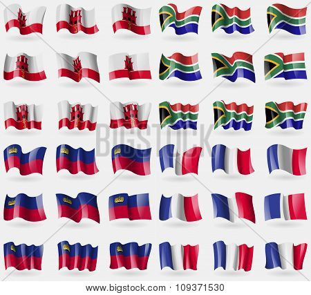 Gibraltar, South Africa, Liechtenstein, France. Set Of 36 Flags Of The Countries Of The World. Vecto
