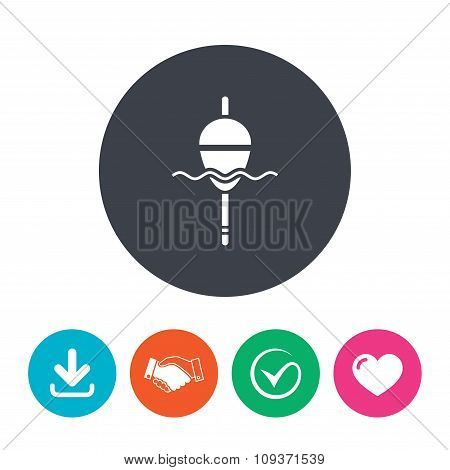 Fishing sign icon. Float bobber symbol.