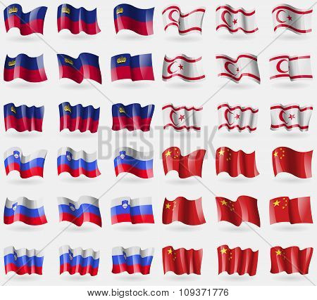 Liechtenstein, Turkish Northern Cyprus, Slovenia, China. Set Of 36 Flags Of The Countries Of The Wor