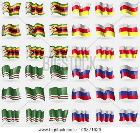 Zimbabwe, North Ossetia, Chechen Republic Of Ichkeria, Russia. Set Of 36 Flags Of The Countries Of T