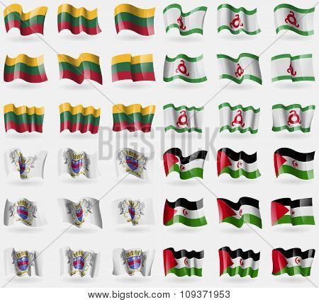 Lithuania, Ingushetia, Saint Barthelemy, Western Sahara. Set Of 36 Flags Of The Countries Of The Wor