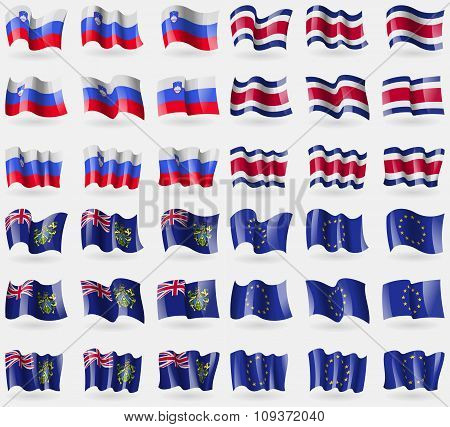 Slovenia, Costa Rica, Pitcairn Islands, European Union. Set Of 36 Flags Of The Countries Of The Worl