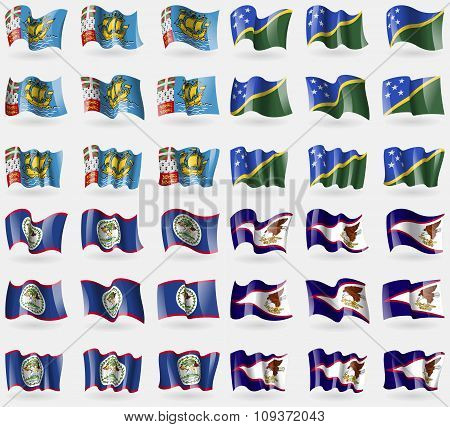 Saint Pierre And Miquelon, Solomon Islands, Belize, American Samoa. Set Of 36 Flags Of The Countries