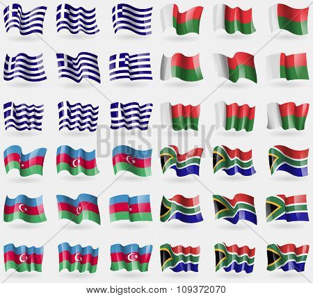 Greece, Madagascar, Azerbaijan, South Africa. Set Of 36 Flags Of The Countries Of The World. Vector