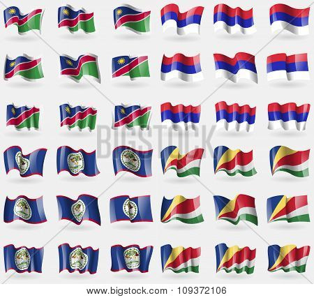 Namibia, Republika Srpska, Belize, Seychelles. Set Of 36 Flags Of The Countries Of The World. Vector