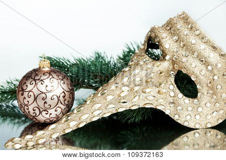 Christmas mask with green fir-tree