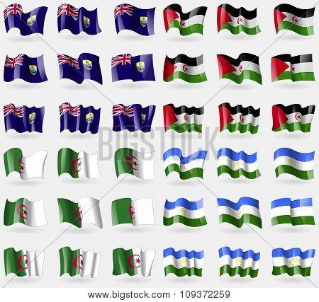 Saint Helena, Western Sahara, Algeria, Bashkortostan. Set Of 36 Flags Of The Countries Of The World.