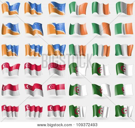 Tierra Del Fuego Province, Ireland, Singapore, Algeria. Set Of 36 Flags Of The Countries Of The Worl