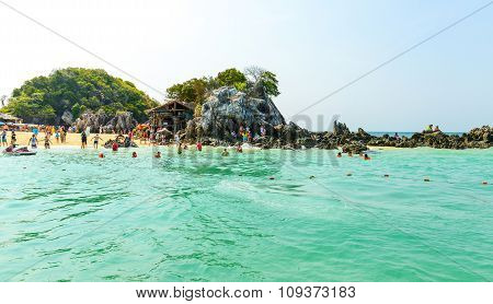 Tourists And Swimmers Having Fun On The Beach At Khai Nok Island.