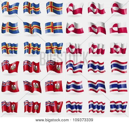 Aland, Greenland, Bermuda, Thailand. Set Of 36 Flags Of The Countries Of The World. Vector