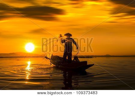 Fisherman Action When Fishing During Sunset