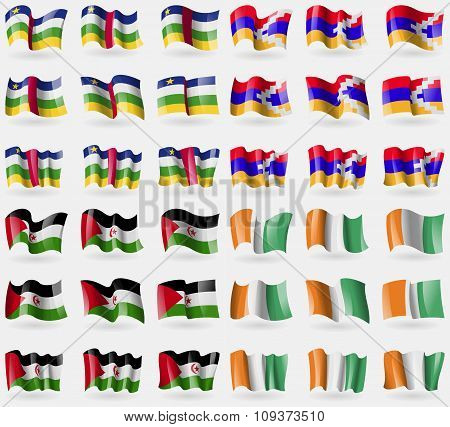 Central African Republic, Karabakh Republic, Western Sahara, Cote Divoire. Set Of 36 Flags Of The Co