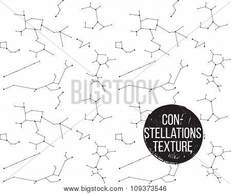 Constellations black and white seamless texture.