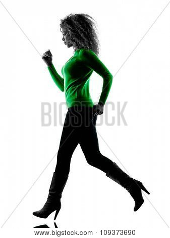 one mixed race young woman Running silhouette isolated on white background