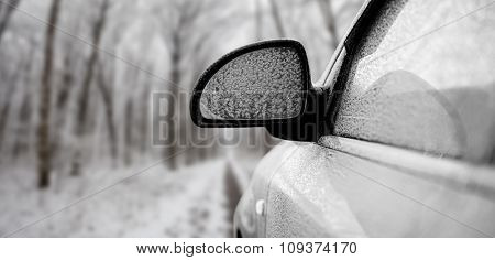 car in snow on the forest backgrounds