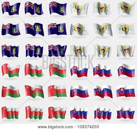 Virginislandsuk, Virginislandsus, Oman, Slovakia. Set Of 36 Flags Of The Countries Of The World. Vec