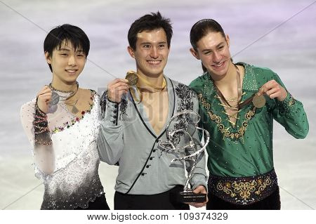 Hanyu (l), Patrick Chan, Jason Brown