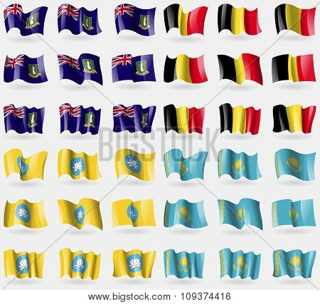 Virginislandsuk, Belgium, Kamykia, Kazakhstan. Set Of 36 Flags Of The Countries Of The World. Vector