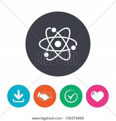 Atom sign icon. Atom part symbol.