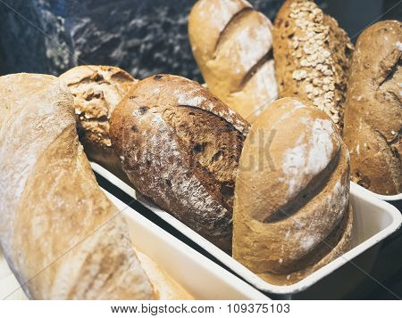 Mixed Bread display in bakery shop