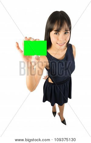 Business Woman Showing Blank Card Sign