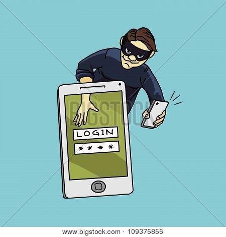 Social Network Hacker Stealing Password From Smartphone Screen, Criminal On Smart Phone