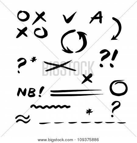 Hand Drawn Vector Check Mark. Set Of Correction And Highlight Elements.