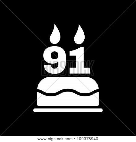 The birthday cake with candles in the form of number 91 icon. Birthday symbol. Flat