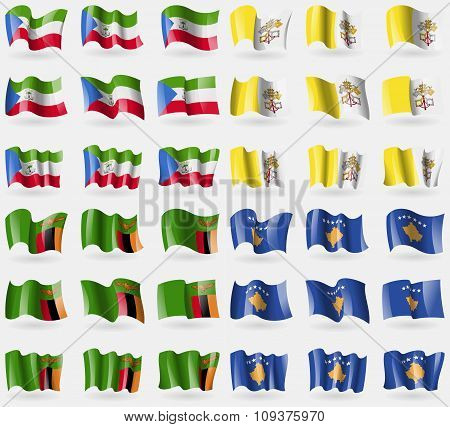 Equatorial Guinea, Vatican Cityholy See, Zambia, Kosovo. Set Of 36 Flags Of The Countries Of The Wor