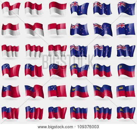 Indonesia, New Zeland, Samoa, Liechtenstein. Set Of 36 Flags Of The Countries Of The World. Vector