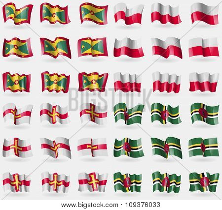 Grenada, Poland, Guernsey, Dominica. Set Of 36 Flags Of The Countries Of The World. Vector