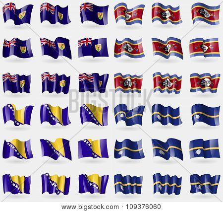 Turks And Caicos, Swaziland, Bosnia And Herzegovina, Nauru. Set Of 36 Flags Of The Countries Of The
