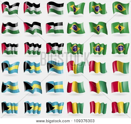 Palestine, Brazil, Bahamas, Guinea. Set Of 36 Flags Of The Countries Of The World. Vector