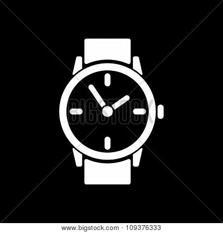 The watch icon. Clock and wristwatch, timer, time, stopwatch symbol. Flat