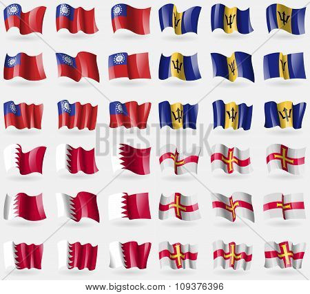 Myanmarburma, Barbados, Bahrain, Guernsey. Set Of 36 Flags Of The Countries Of The World. Vector