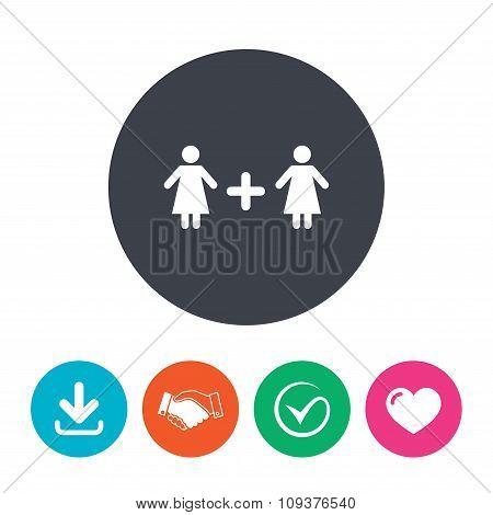 Couple sign icon. Woman plus woman. Lesbians.