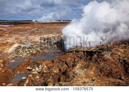 Damaged broadwalk near steaming fumarole at  Gunnuhver geothermal area  in the southwest part of the Reykjanes Peninsula of Iceland