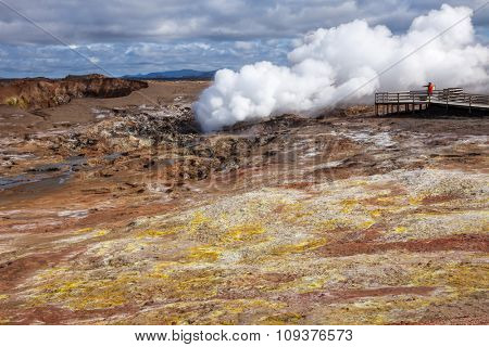 Steaming fumarole at  Gunnuhver geothermal area  in the southwest part of the Reykjanes Peninsula of Iceland
