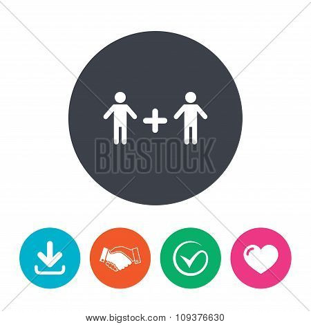 Couple sign icon. Male plus male. Gays.