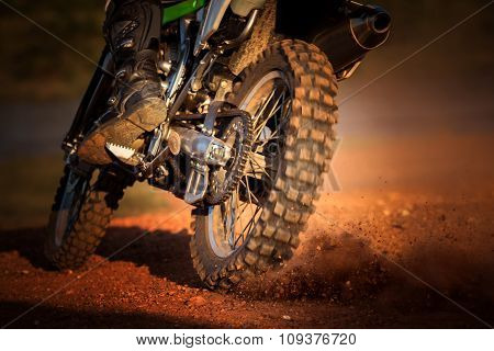Action Of Enduro Motorcycle On Dirt Track