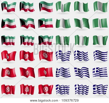Kuwait, Nigeria, Tunisia, Greece. Set Of 36 Flags Of The Countries Of The World. Vector